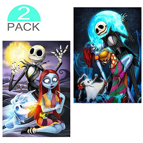 2 Pack Diamond Painting Kits for Adults, Halloween Full Drill 5D DIY Painting by Numbers Diamond Dotz Kit Cross Stitch Crystal Rhinestone Embroidery Arts Craft,Jack Skellington -
