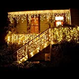 DOULINE Icicle Lights Curtain String Lights Fairy String Lights,96LED,10.5ft/3.2M,30V Safe Voltage Output,Patio Lights for Christmas,Halloween,Wedding,Party Backdrops, UL Listed (Warm White)