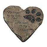 ZTSS Pet Memorial Stones For Dog or Cat,Cute Tombstone Engraved With Sympathy Poem & Paw In Hand Design,Heart Garden Decoration Stone With Footprint,Meaning Gift For Outdoor (Black)