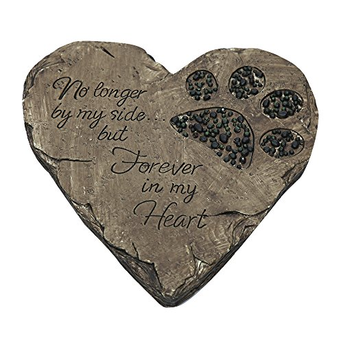 ZTSS Pet Memorial Stones For Dog or Cat,Cute Tombstone Engraved With Sympathy Poem & Paw In Hand Design,Heart Garden Decoration Stone With Footprint,Meaning Gift For Outdoor (Black) (Stone Cast Dog)
