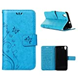 MOONCASE Huawei Y6 Wallet Case Flower Pattern Premium PU Leather Case for Huawei Y6 / Honor 4A Bookstyle Soft TPU [Shock Absorbent] Flip Bracket Cover Blue