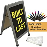 Sandwich Board Sidewalk Chalkboard Sign: Reinforced, Heavy-Duty / 10 Chalk Markers / 40 PC. Stencil Set/Chalk / Eraser/Double Sided/Large 40x23 Chalk Board Standing Sign A-Frame (Whitewash Grey)