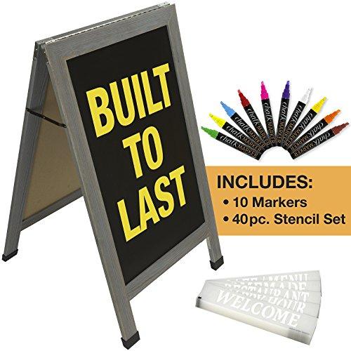 Sandwich Board Sidewalk Chalkboard Sign: Reinforced, Heavy-Duty / 10 Chalk Markers / 40 PC. Stencil Set/Chalk/Eraser/Double Sided/Large 40x23 Chalk Board Standing Sign A-Frame (Whitewash Grey)