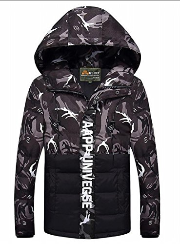 Camo Packable Down Hoodie Men's Outerwear Gocgt Black Casual Jacket qfH1UxE