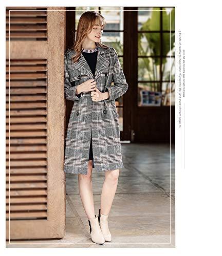 Glamorous Autunno Trench Convenzionale Fit Invernali Lunga Vintage Cappotto Double Bavero Donna Fashion Eleganti Scuro Reticolo Semplice Slim Outerwear Grigio Breasted Manica Giaccone rrU7xCqAw