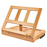 3 draw metal tool box - Desk Easel - Adjustable Wood Easel with Storage Drawer - Great for Desktops and Tabletops, 13.5 x 1.75 x 10.75 Inches