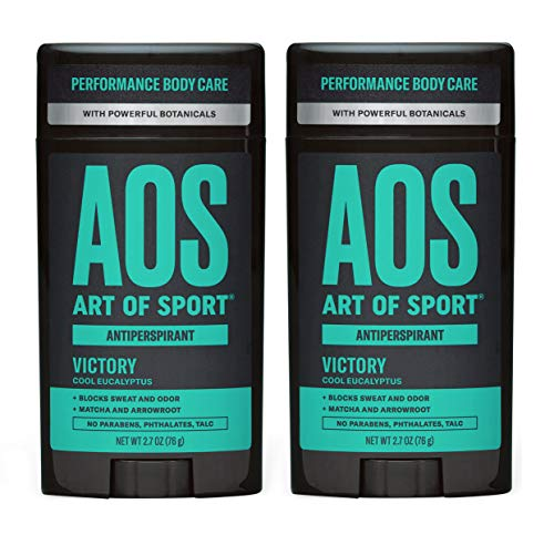 Art of Sport Men's Antiperspirant Deodorant (2-Pack) - Victory Scent - Antiperspirant for Men with Natural Botanicals Matcha and Arrowroot - Cool Eucalyptus Fragrance - Made for Athletes - 2.7oz