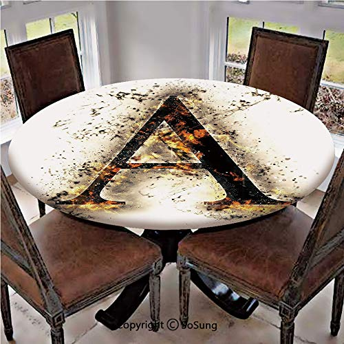 Elastic Edged Polyester Fitted Table Cover,Fiery Pattern First Letter of Alphabet Flame Texture Worn Stained Background Decorative,Fits up 56