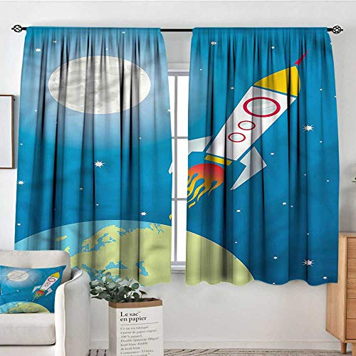 Sanring Kids,Boys Bedroom Backout Curtains Spaceship Shuttle Universe 104
