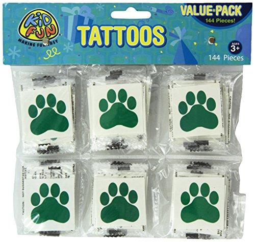 Green Paw Print Temporary Tattoos (144)