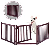 JAXPETY Wood Dog Pet Gate Indoor Barrier 24'' Free Standing Folding Safety Fence Security 3 Panel