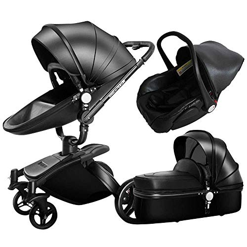 TZZ Luxury 3 in 1 Baby Stroller High Landscape Foldable Pram Carriage with 5-Point Safety Belt, for Toddler Girls and Boys (Color : Black)
