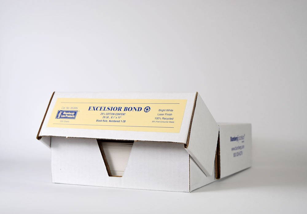 Blumberg Pleading Paper, White with Black Rule, Numbered 1-28, 20 lb, 25% Cotton, 100% Recycled, Letter Size, Archival Quality, 500 Sheets per Box
