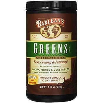 Barlean's Organic Oils Greens Alkaline & Energize, Chocolate Silk, 9.52 Ounce