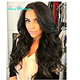 Wig Queen 200% Density Silk Top Full Lace Wigs Body Wave With Baby Hair With Bangs GluelessFree Part 8A Brazilian Virgin Human Hair Natural Hairline Bleached Knot Wigs For Women(22'' nature color)
