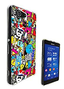 589 - StickerBomb Sticker Bomb Cool Funky Design Sony Xperia Z3 Compact / Mini Fashion Trend CASE Gel Rubber Silicone All Edges Protection Case Cover