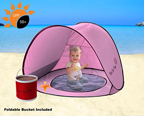 Baby Pop Up Tent by Fun In The Sun | Portable Baby Beach Tent with Shaded Pool And Foldable Water Bucket Set | 50+ UPF UV Protection. Perfect For Toddlers And Kids Under 3 Years (What To Put In A Gift Hamper)