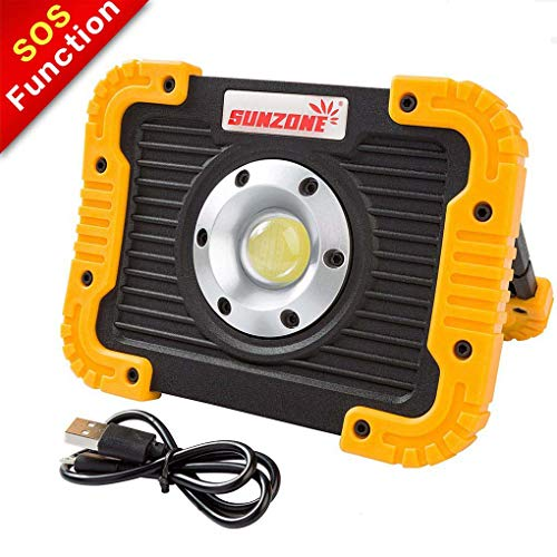 SUNZONE Portable LED Work Light Outdoor Rechargeable Lantern IP55 Waterproof Flood Lights for Camping Hiking Car Repairing with SOS Mode(Yellow color) ()