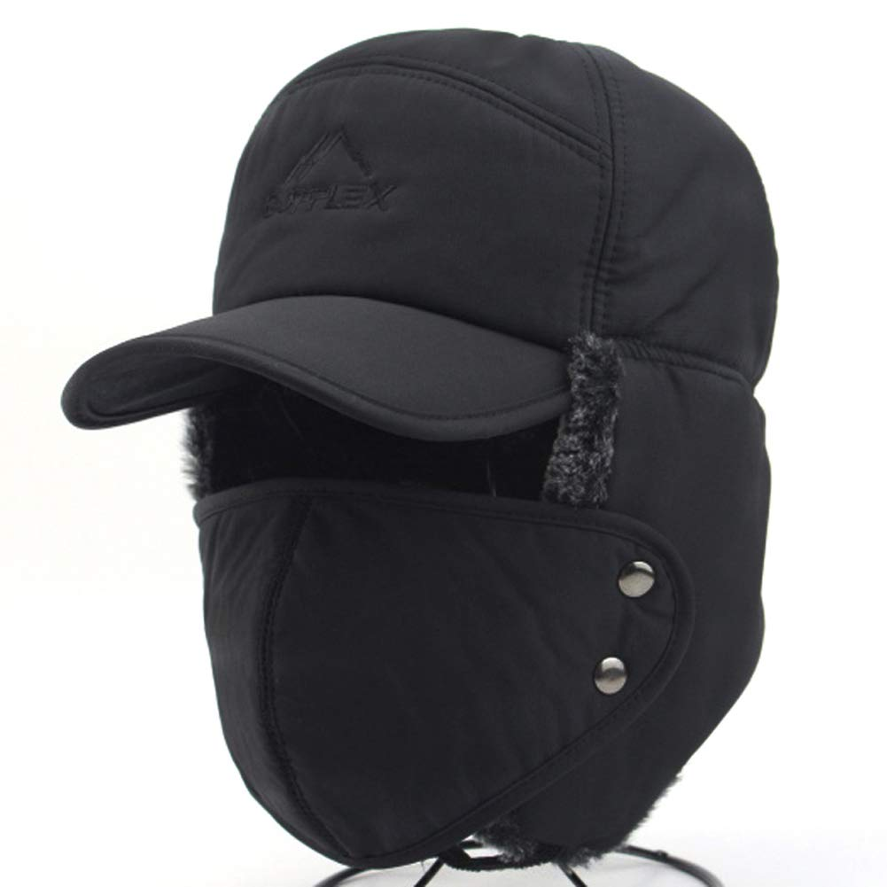 Thermal Fur Lined Trapper Bomber Hat Ear Flap Full Face Mask Neck ... e352b4e1256