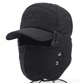 03d19aa1658 3 in 1 Thermal Fur Lined Trapper Hat with Ear Flap and Full Face Mask Neck