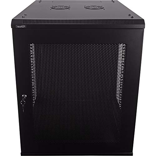 NavePoint 15U Deluxe IT Wallmount Cabinet Enclosure 19-Inch Server Network Rack with Locking Perforated Door 24-Inches Deep Black