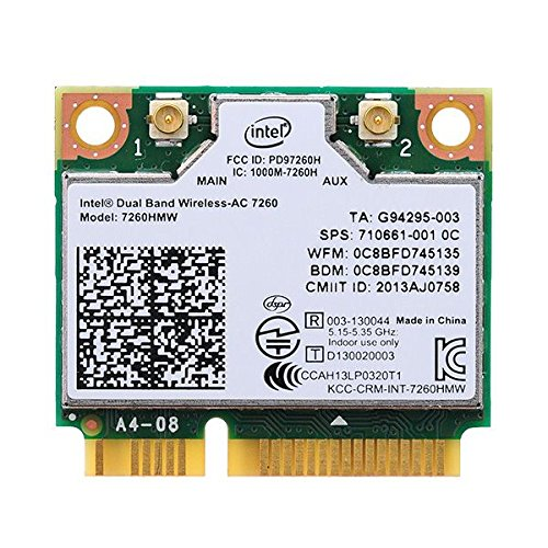 Bplus: Intel Network 7260.HMWG WiFi Wireless-AC 7260 H/T Dual Band 2x2 AC+Bluetooth HMCPartner; Bluetooth half Size Module by Bplus