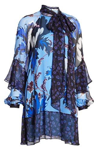 Diane von Furstenberg Effie Neck Tie Shift Silk Dress in Phoenix Floral Hydrange Diane Von Furstenberg Silk Dress