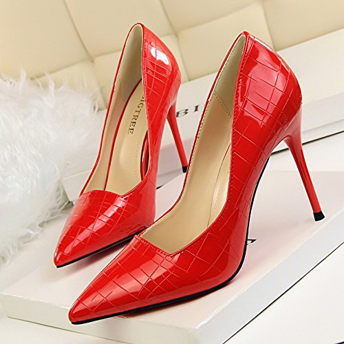 With Shoes Silver Heeled heels High Autumn Shallow White Versatile Single And Mouth Yukun Female Shoes Tide Spring Red Pointed High Red 39 58Yvxwzq