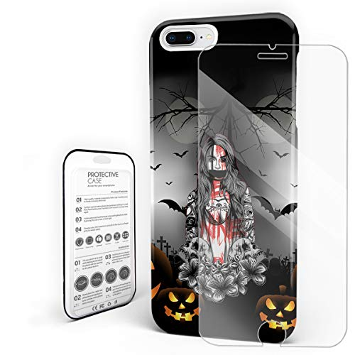 YEHO Art Gallery Stylish Phone Case Protective Design Hard Back Case,Halloween Castle Ghost Girl Pumpkin Bat Graveyard Moon Horror Pattern Phone Cover,Cases for iPhone 7p/8p ()