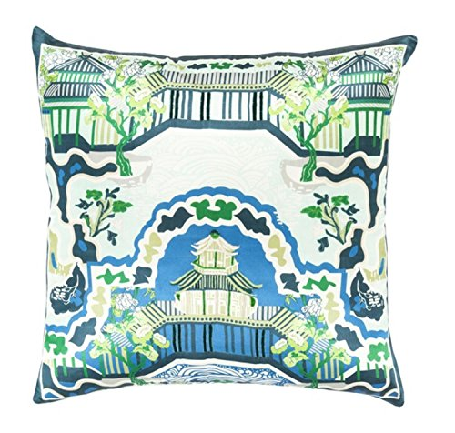 22'' Dream Castle Sky Blue, Seafoam Green and French White Decorative Square Throw Pillow by Diva At Home