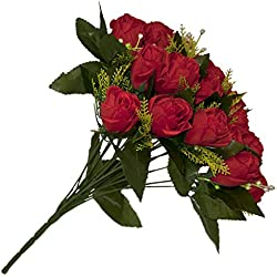 Silk Red Rose Flower Valentine's Day Gift Bouquet