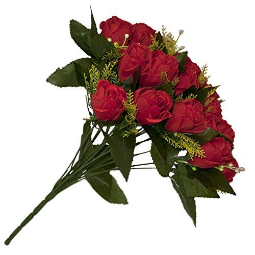 ALEKO F18HRR Artificial 14.5 Inch 18 Heads Silk Red Rose Flower Bouquet