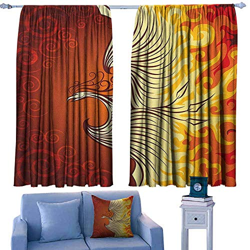 GAAGS Outdoor Patio Curtains,Orange Illustration of Flying Phoenix Bird in The Burning Flame Mythical Creature Print,Darkening and Thermal Insulating Draperies,W55x39L Inches Orange Yellow (Curtains Patio Outdoor Phoenix)