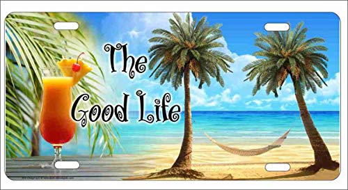 (ATD The Good Life Tropical Paradise Beach Scene Palm Trees Hammock and a Drink Novelty Front License Plate Decorative Vanity Aluminum Sign car tag)