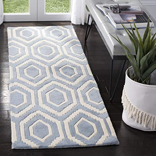 """Image of Safavieh Chatham Collection CHT731B Handmade Blue and Ivory Premium Wool Area Rug (2'3"""" x 5')"""