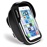 LEMEGO Waterproof Bike Phone Mount Holder Pouch Bag, Universal Bicycle Rear Handlebar Pouch with Water Resistant Frame Transparent Touchable Case 360 Degrees Rotatable For Under 6 Inchs Smartphone