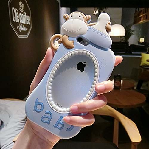 iPhone 6 6s Case,Creative Cute Soft Silicone Stylish Monkey Baby