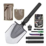 snow cone bottles - Portable Military Folding Shovel, Rquite Multifunctional Collapsible Tactical Entrenching Tool Gardening Snow Army Camping Shovel with Carrying Pouch for Camping Backpacking Hiking-31Inch Black