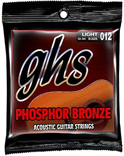 Ghs Phosphor Bronze Acoustic Guitar - GHS Strings S325 Phosphor Bronze Acoustic Guitar Strings, Light (.012-.054)