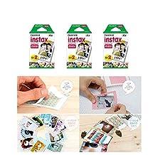 Fujifilm Instax Mini Instant Film, 2 x 10 Shoots x 3 Pack (Total 60 Shoots) Value Set + 20 Pcs Film Decorative Sticker