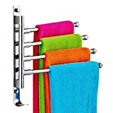 Togather New Wall Mounted Stainless Steel Towel Holder Bathroom Kitchen Towel Rack with Hook design (4-Arm)