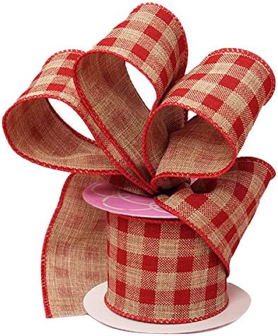 ONE Red /& White Wired Gingham Check Bow-ONE Bow3 Yards Red White Ribbon Combo-Red Gingham Wreath Bow-Red Gingham Check Spring Wreath Bow
