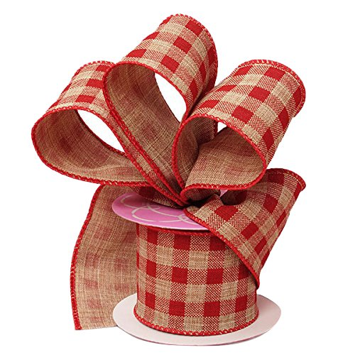 (Red Gingham Wired Burlap Ribbon - 2 1/2