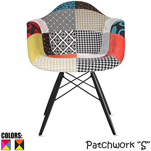 2xhome Eiffel Mid Century Modern Arm Chair with Black Wood Legs, Patchwork S Fabric