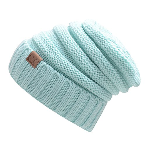 light blue knit beanie - 7
