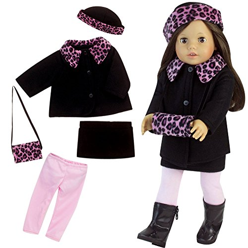 18 Inch Doll Clothes 5 Pc. Set Winter Doll Outfit Fits 18 Inch American Girl Dolls & More! Black/Hot Pink Animal Print Doll Coat, Hat, Muff, Skirt & Leggings