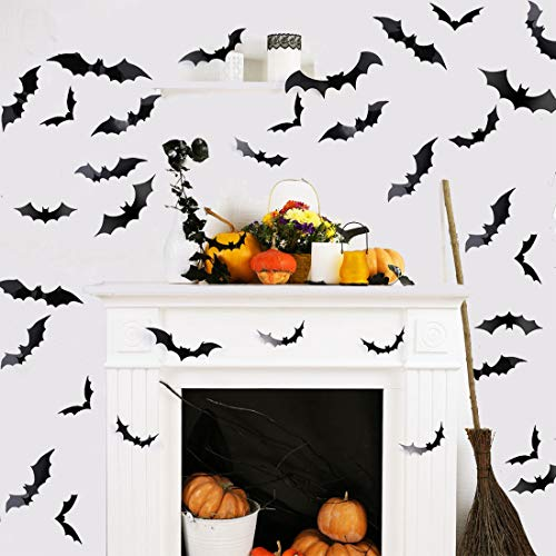 AOOTOOSPORT 72 PCS DIY Halloween Decorations PVC 3D Scary Bats Decorative Decal Wall Sticker Window Decorations, Halloween Party Supplies Indoor Decoration Set
