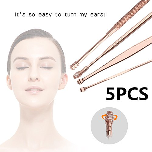 ZeHui Stainless Steel Ear Pick Wax Curette Remover Ear Cleaner Spoon Ear Clean Tool 5pcs/set Rose Gold
