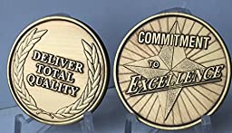 Set of 2 Commitment To Excellence Deliver Total Quality Bronze Medallion Challenge Tokens