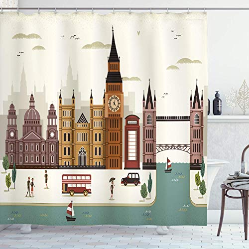 lovedomi London Shower Curtain Tourist Attractions UK Famous City Big Ben Phone Booth Westminster 71x71inch Polyester Waterproof Fabric Including 12 Plastic Hooks (Best Cat Repellent Uk)
